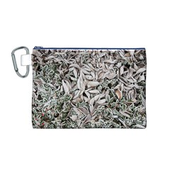 Ice Leaves Frozen Nature Canvas Cosmetic Bag (m)