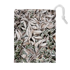 Ice Leaves Frozen Nature Drawstring Pouches (Extra Large)