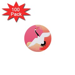 Goose Swan Pink Orange White Animals Fly 1  Mini Buttons (100 Pack)