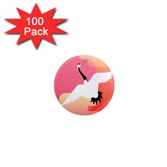 Goose Swan Pink Orange White Animals Fly 1  Mini Magnets (100 pack)
