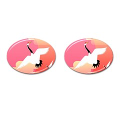 Goose Swan Pink Orange White Animals Fly Cufflinks (oval)