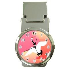 Goose Swan Pink Orange White Animals Fly Money Clip Watches