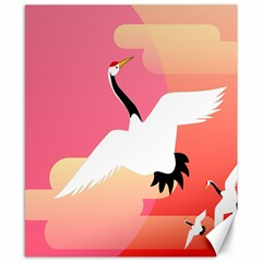 Goose Swan Pink Orange White Animals Fly Canvas 8  x 10