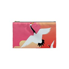 Goose Swan Pink Orange White Animals Fly Cosmetic Bag (small)