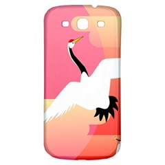 Goose Swan Pink Orange White Animals Fly Samsung Galaxy S3 S III Classic Hardshell Back Case