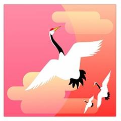 Goose Swan Pink Orange White Animals Fly Large Satin Scarf (square)