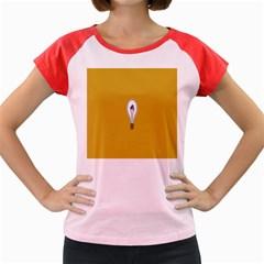 Idea Lamp White Orange Women s Cap Sleeve T Shirt