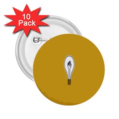 Idea Lamp White Orange 2.25  Buttons (10 pack)