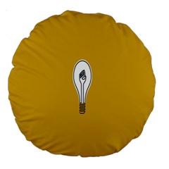 Idea Lamp White Orange Large 18  Premium Round Cushions