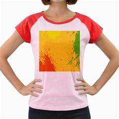 Paint Stains Spot Yellow Orange Green Women s Cap Sleeve T-Shirt