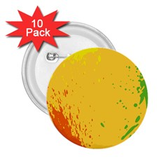Paint Stains Spot Yellow Orange Green 2 25  Buttons (10 Pack)