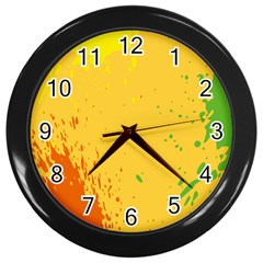 Paint Stains Spot Yellow Orange Green Wall Clocks (Black)