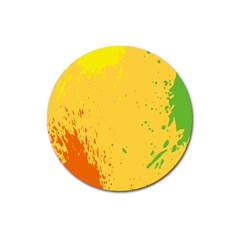 Paint Stains Spot Yellow Orange Green Magnet 3  (Round)