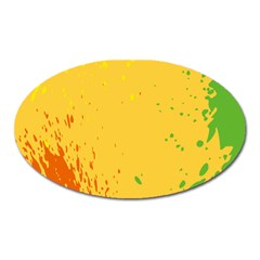 Paint Stains Spot Yellow Orange Green Oval Magnet