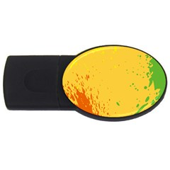 Paint Stains Spot Yellow Orange Green USB Flash Drive Oval (2 GB)