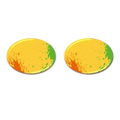 Paint Stains Spot Yellow Orange Green Cufflinks (oval)