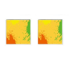 Paint Stains Spot Yellow Orange Green Cufflinks (square)