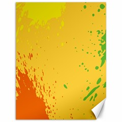 Paint Stains Spot Yellow Orange Green Canvas 12  x 16