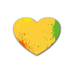 Paint Stains Spot Yellow Orange Green Rubber Coaster (Heart)