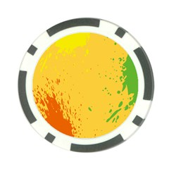 Paint Stains Spot Yellow Orange Green Poker Chip Card Guard