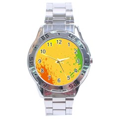 Paint Stains Spot Yellow Orange Green Stainless Steel Analogue Watch