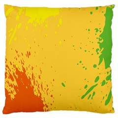 Paint Stains Spot Yellow Orange Green Large Cushion Case (Two Sides)