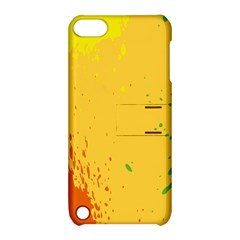 Paint Stains Spot Yellow Orange Green Apple Ipod Touch 5 Hardshell Case With Stand