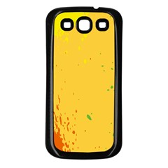 Paint Stains Spot Yellow Orange Green Samsung Galaxy S3 Back Case (Black)