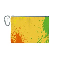 Paint Stains Spot Yellow Orange Green Canvas Cosmetic Bag (M)