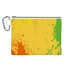 Paint Stains Spot Yellow Orange Green Canvas Cosmetic Bag (L)