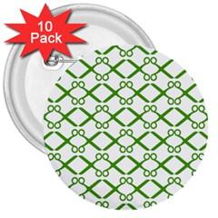 Scissor Green 3  Buttons (10 Pack)