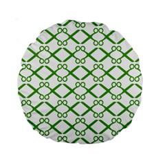Scissor Green Standard 15  Premium Round Cushions