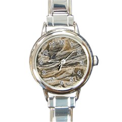 Rock Texture Background Stone Round Italian Charm Watch