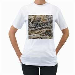 Rock Texture Background Stone Women s T-Shirt (White) (Two Sided)
