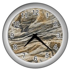 Rock Texture Background Stone Wall Clocks (silver)