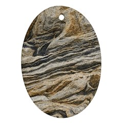 Rock Texture Background Stone Oval Ornament (two Sides)