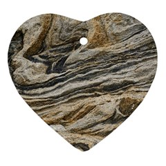 Rock Texture Background Stone Heart Ornament (two Sides)
