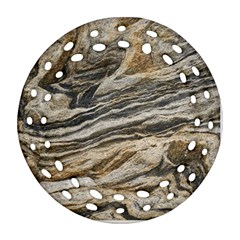 Rock Texture Background Stone Round Filigree Ornament (two Sides)