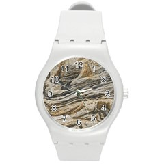 Rock Texture Background Stone Round Plastic Sport Watch (M)
