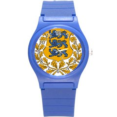 Coat of Arms of Estonia Round Plastic Sport Watch (S)