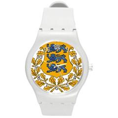 Coat of Arms of Estonia Round Plastic Sport Watch (M)