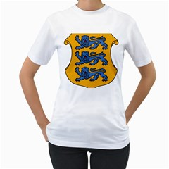 Lesser Arms of Estonia  Women s T-Shirt (White) (Two Sided)