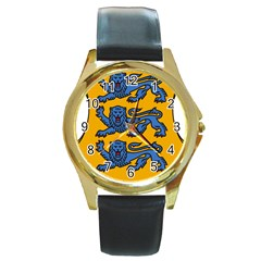 Lesser Arms of Estonia Round Gold Metal Watch