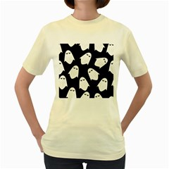 Ghost Halloween Pattern Women s Yellow T Shirt
