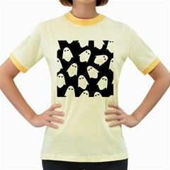 Ghost Halloween Pattern Women s Fitted Ringer T Shirts