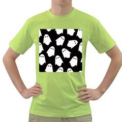 Ghost Halloween Pattern Green T-Shirt
