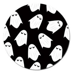 Ghost Halloween Pattern Magnet 5  (round)