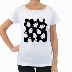 Ghost Halloween Pattern Women s Loose Fit T Shirt (white)