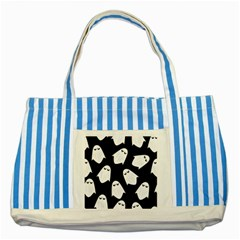 Ghost Halloween Pattern Striped Blue Tote Bag