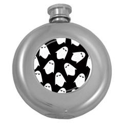 Ghost Halloween Pattern Round Hip Flask (5 Oz)